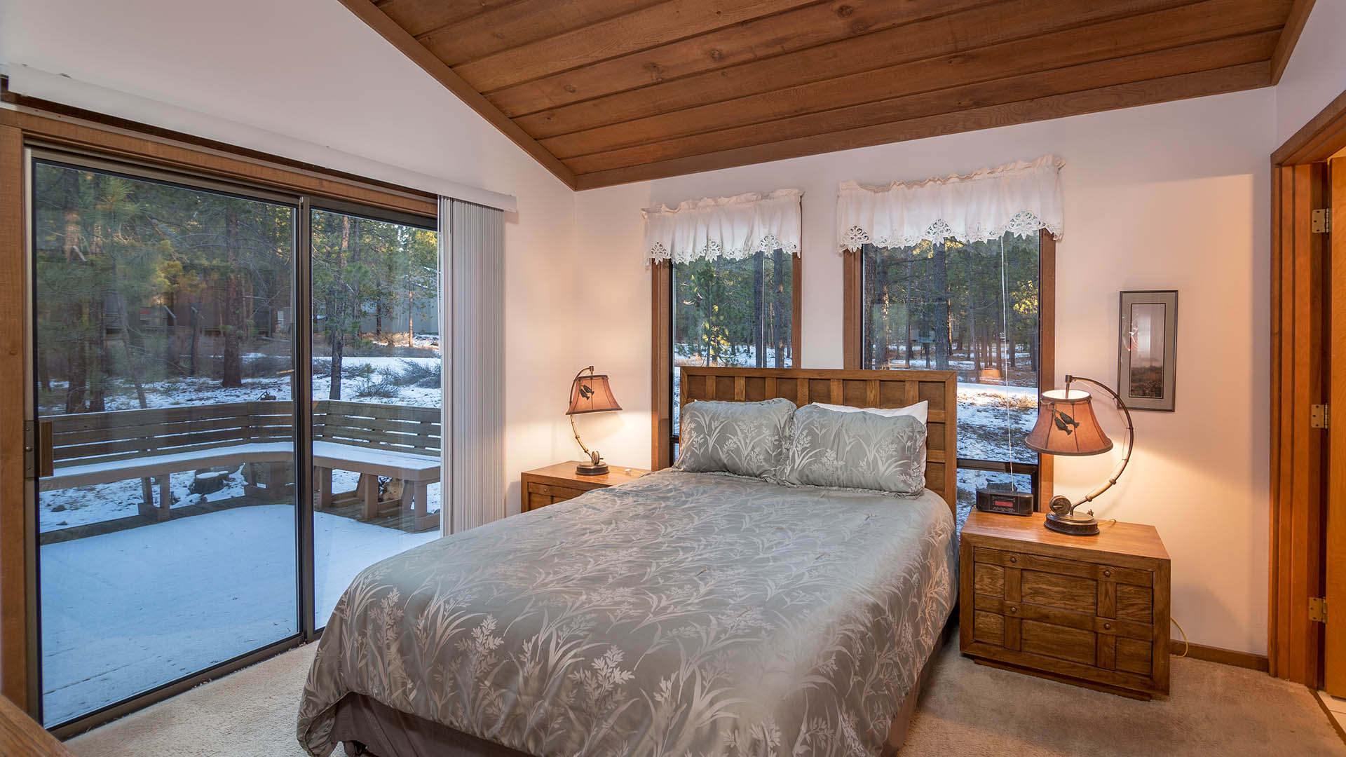 bedroom with sliding glass doors fox