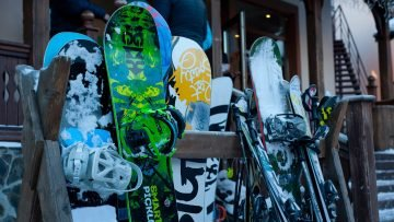 Snowboard and skis at Mt. Bachelor